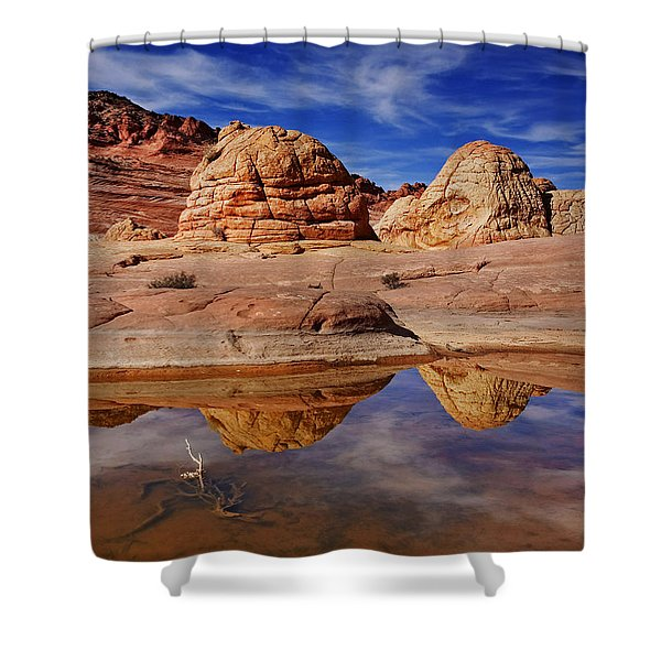 Coyote Butte Reflections Shower Curtain by Mike  Dawson