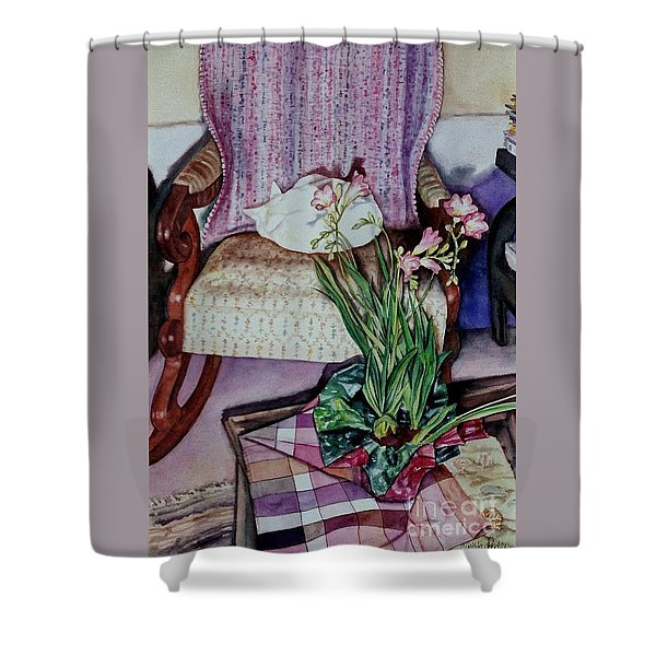 Cozy Kitty Shower Curtain by Cynthia Pride