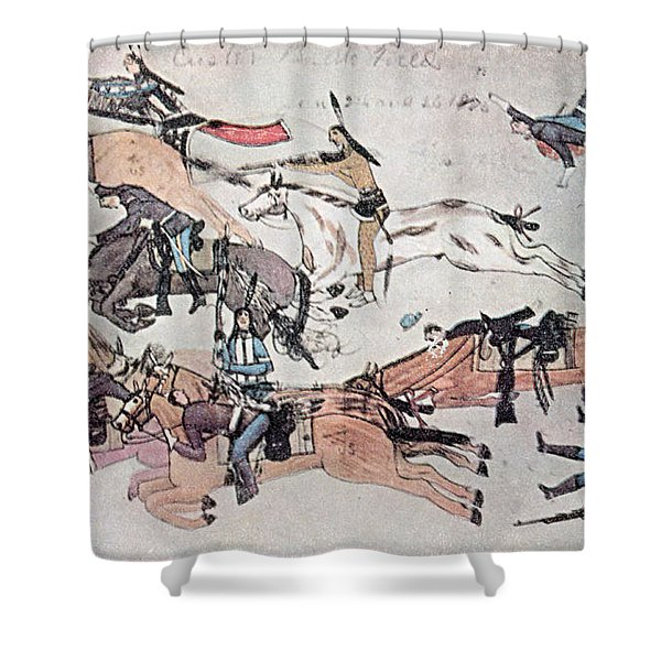 Crazy Horse At The Battle Of The Little Shower Curtain by Photo Researchers