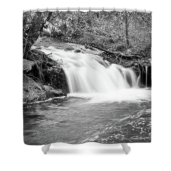 Creek Merge Waterfall in Black and White Shower Curtain by James BO  Insogna