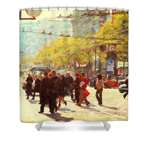 Crossing San Francisco Market Street Shower Curtain by Wingsdomain Art and Photography
