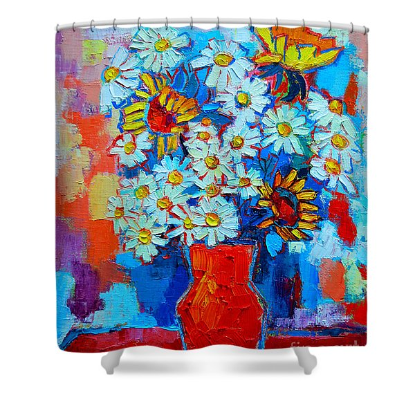 Daisies And Sunflowers Shower Curtain by Ana Maria Edulescu