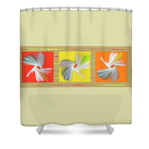 Dancing Flower Trio Shower Curtain by Ben and Raisa Gertsberg