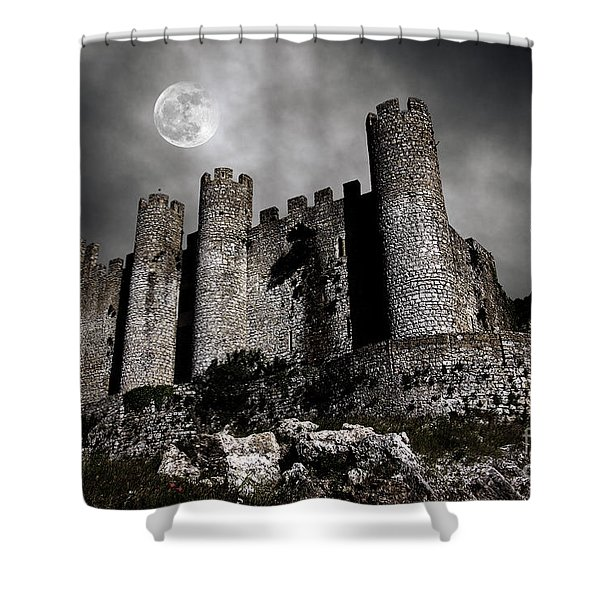 Dark Castle Shower Curtain by Carlos Caetano