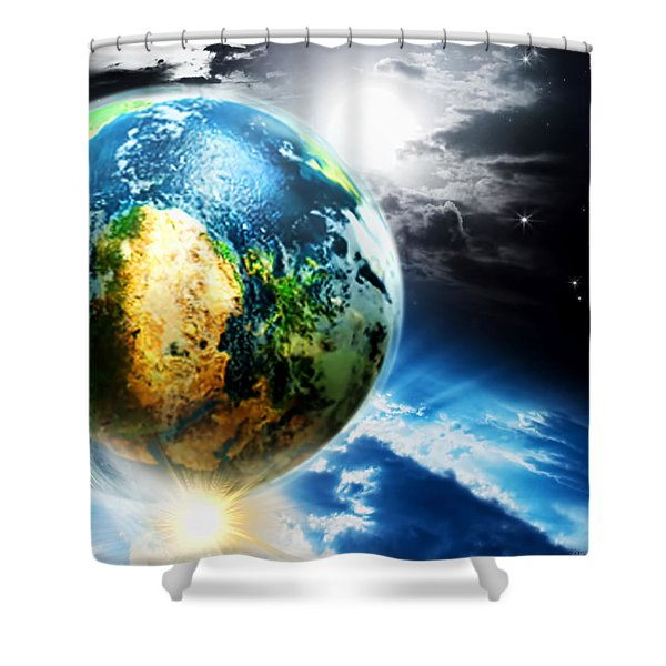 Day 4 Shower Curtain by Lourry Legarde