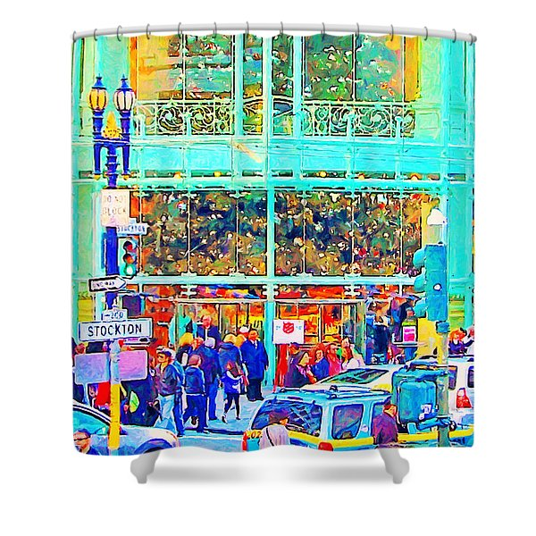 Day Before Christmas at Neiman Marcus . Photoart Shower Curtain by Wingsdomain Art and Photography