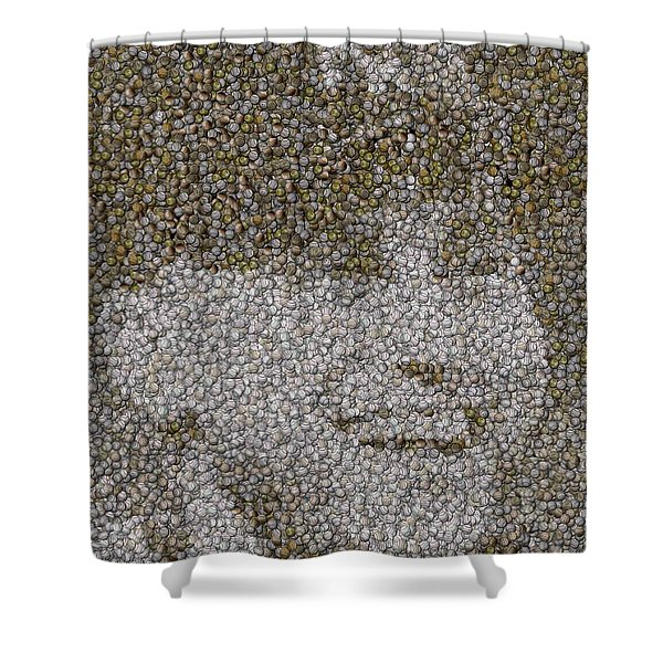 Derek Jeter Baseballs Mosaic Shower Curtain by Paul Van Scott