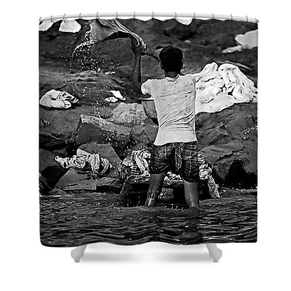 Dhobi Wallah Bw Shower Curtain by Steve Harrington