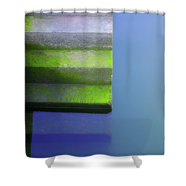 Dock Stairs Shower Curtain by Carlos Caetano