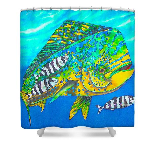 Dorado and Pilot Fish Shower Curtain by Daniel Jean-Baptiste