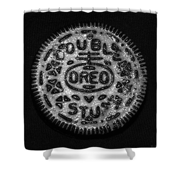Doulble Stuff Oreo In Black And White Shower Curtain by Rob Hans