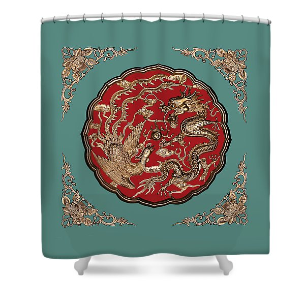 Dragon and Phoenix Shower Curtain by Kristin Elmquist