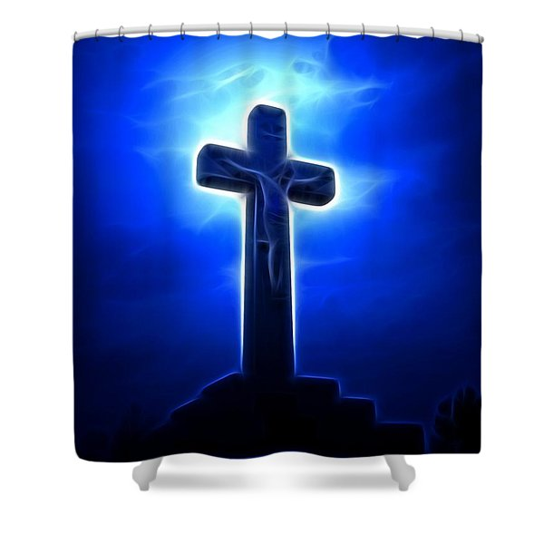 Dramatic Jesus Crucifixion Shower Curtain by Pamela Johnson