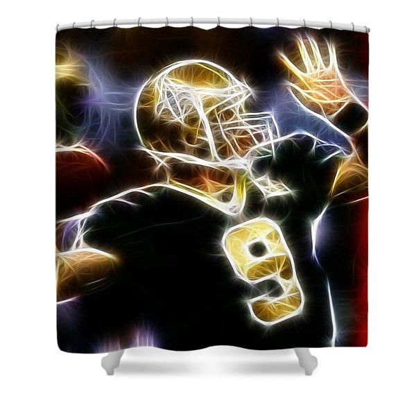 Drew Brees New Orleans Saints Shower Curtain by Paul Van Scott