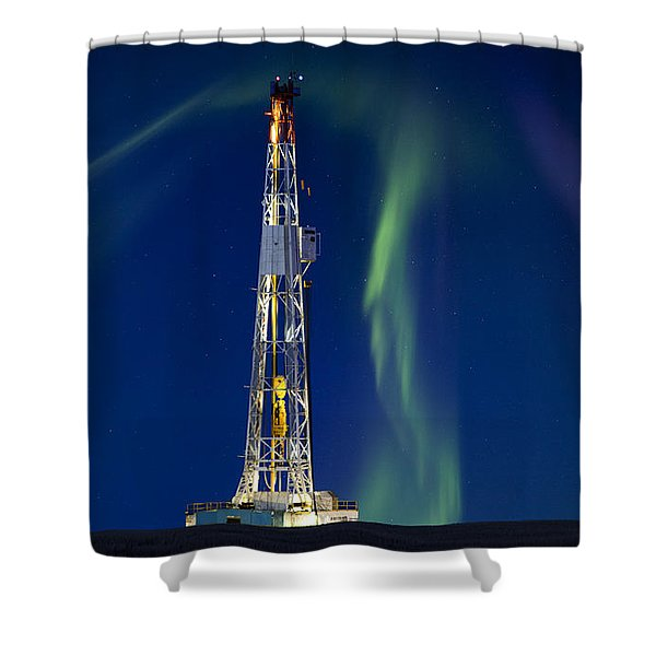 Drilling Rig Saskatchewan Shower Curtain by Mark Duffy