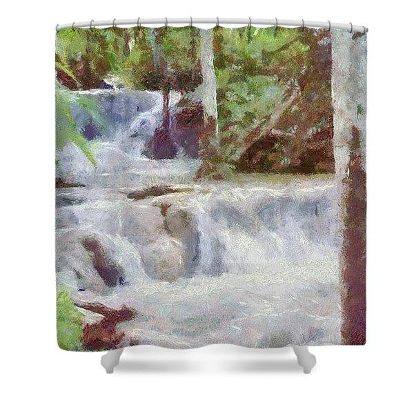 Dunn River Falls Shower Curtain by Jeff Kolker