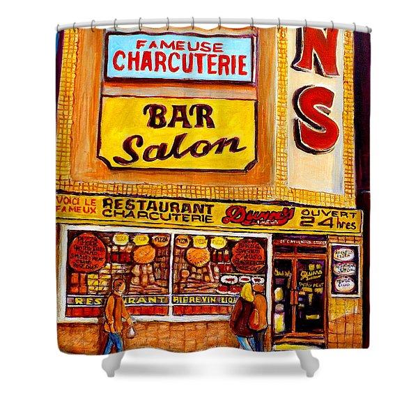 Dunn's Restaurant Montreal Shower Curtain by Carole Spandau