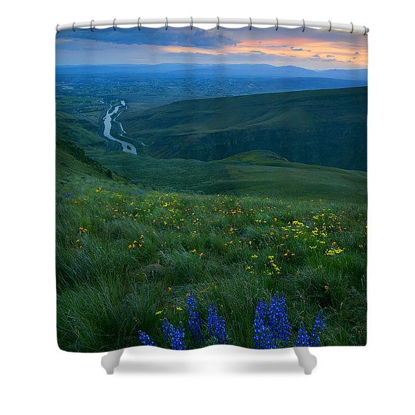 Dusk Over The Yakima Valley Shower Curtain by Mike  Dawson