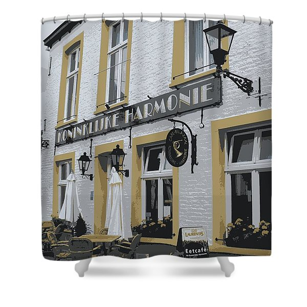 Dutch Cafe - Digital Shower Curtain by Carol Groenen