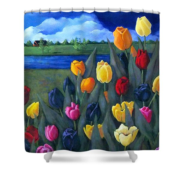 Dutch Tulips With Landscape Shower Curtain by Joyce Geleynse