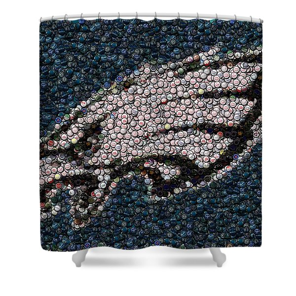 Eagles Bottle Cap Mosaic Shower Curtain by Paul Van Scott