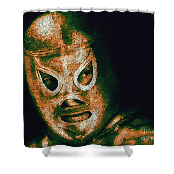 El Santo The Masked Wrestler 20130218 Shower Curtain by Wingsdomain Art and Photography