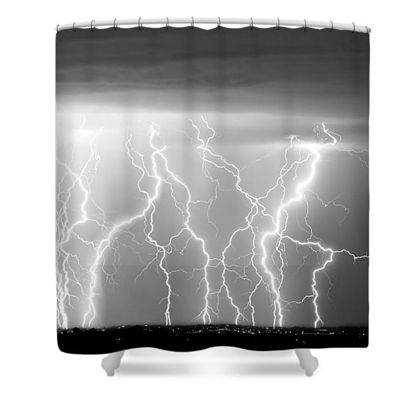 Electric Skies in Black and White Shower Curtain by James BO  Insogna