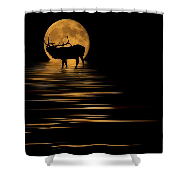 Elk In The Moonlight Shower Curtain by Shane Bechler
