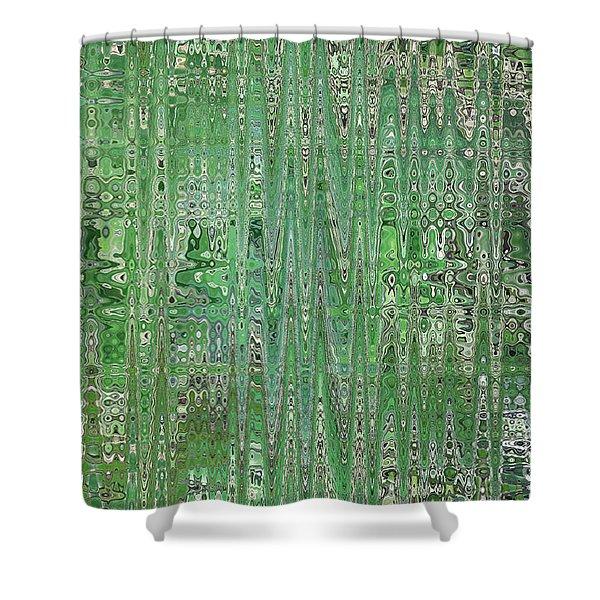Emerald Green - Abstract Art Shower Curtain by Carol Groenen