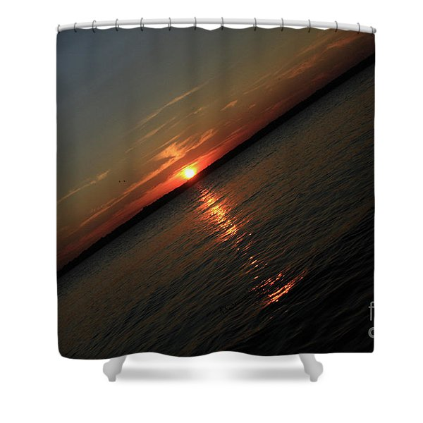 End Of An Off Balance Day Shower Curtain by Karol  Livote