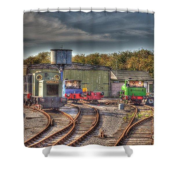 Engine Sheds Quainton Road Buckinghamshire Railway Shower Curtain by Chris Thaxter