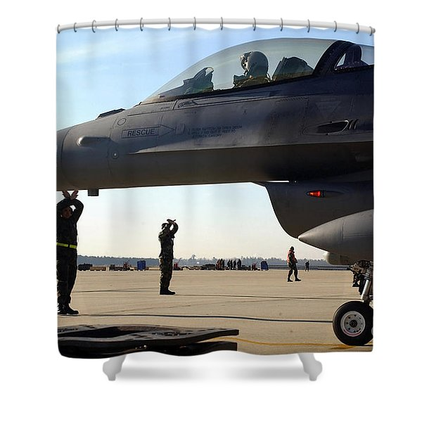 F-16 Fighting Falcons Parked Shower Curtain by Stocktrek Images