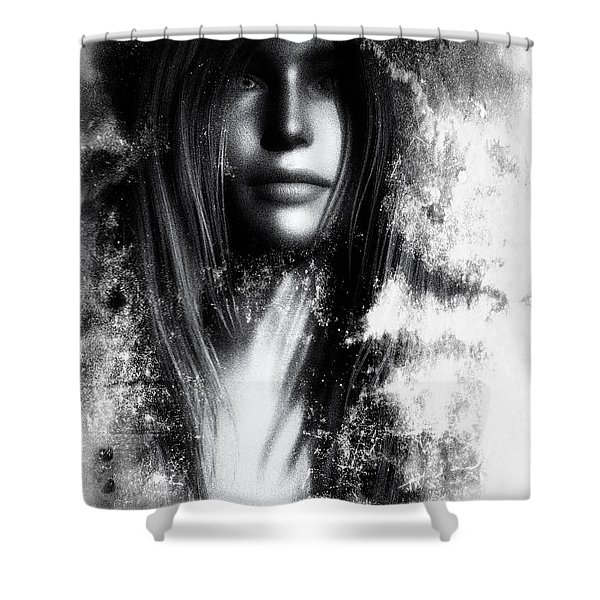 Face In The Mirror Shower Curtain by Bob Orsillo