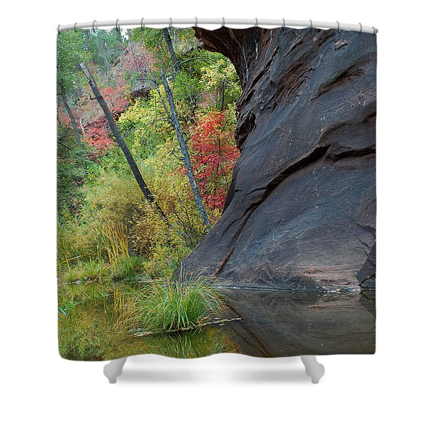 Fall Colors Peek Around Mountain Vertical Shower Curtain by Heather Kirk