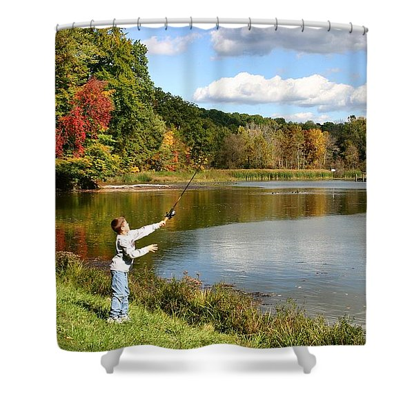 Fall Fishing Shower Curtain by Kristin Elmquist