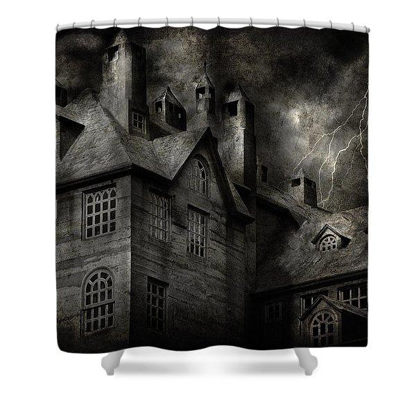 Fantasy - Haunted - It was a dark and stormy night Shower Curtain by Mike Savad