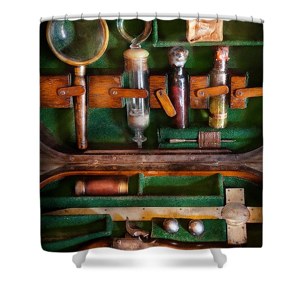 Fantasy - Emergency Vampire Kit  Shower Curtain by Mike Savad