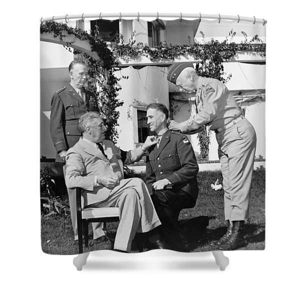 FDR Presenting Medal Of Honor To William Wilbur Shower Curtain by War Is Hell Store