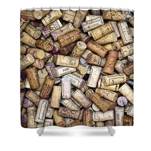 Shower Curtains - Fine Wine Corks Shower Curtain by Frank Tschakert