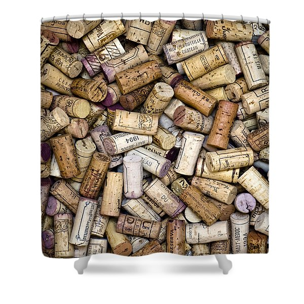 - Fine Wine Corks Square Shower Curtain by Frank Tschakert