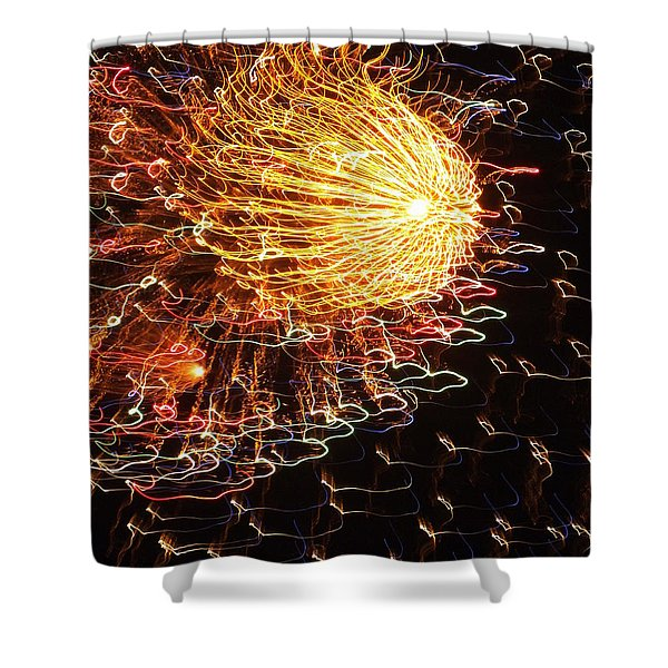 Fire Flower Shower Curtain by KAREN WILES