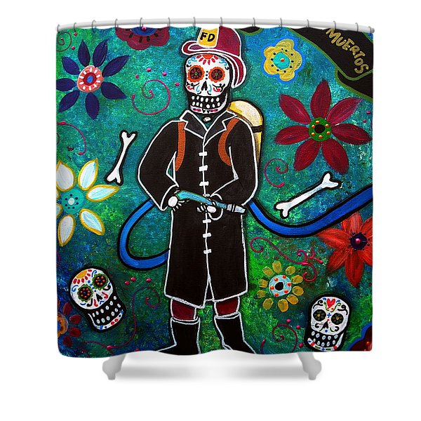 FIREFIGHTER DAY OF THE DEAD Shower Curtain by PRISTINE CARTERA TURKUS