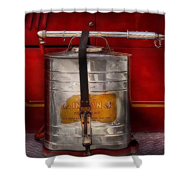 Fireman - Indian Pump  Shower Curtain by Mike Savad