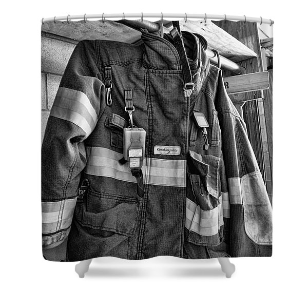 Fireman - Saftey Jacket Black And White Shower Curtain by Paul Ward