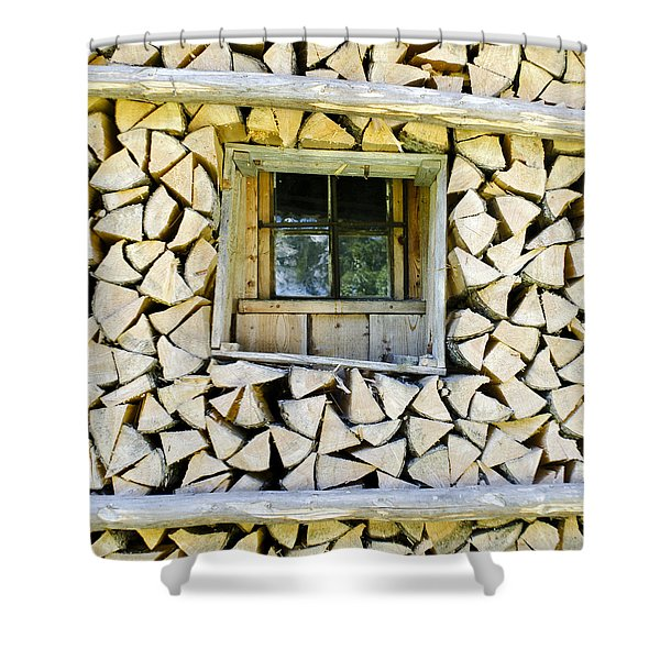 Firewood Shower Curtain by Frank Tschakert