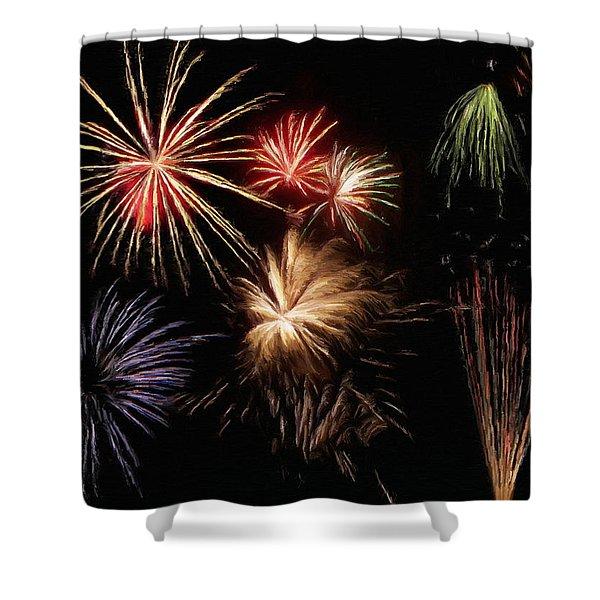 Fireworks Shower Curtain by Jeff Kolker