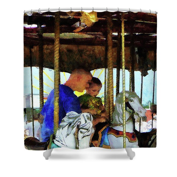 First Carousel Ride Shower Curtain by Susan Savad