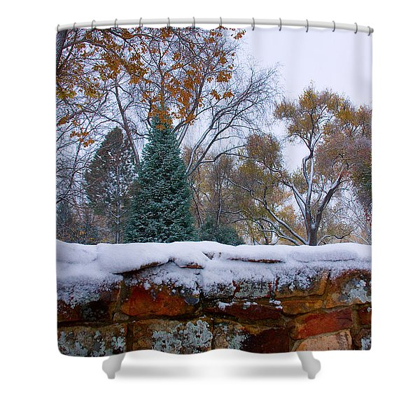 First Colorful Autumn Snow Shower Curtain by James BO  Insogna