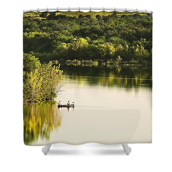 Fishing On Mountain Lake Shower Curtain by Tamyra Ayles