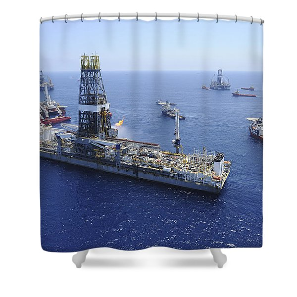 Flaring Operations Conducted Shower Curtain by Stocktrek Images
